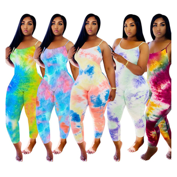 2020 XXXL Women Plus Size Printing Bodycon Sexy Club Party One Piece Tie dye Jumpsuits and Rompers for women