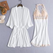 4 шт., пижамный комплект, сексуальные кружевные атласные пижамы для женщин, весна-лето, модные пижамы для женщин, халат, ночная рубашка(Китай)