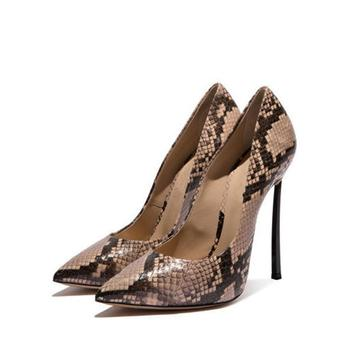 2019 New Snake Patterns Sexy Super High Heel Pumps with Extra Comfortable Pad