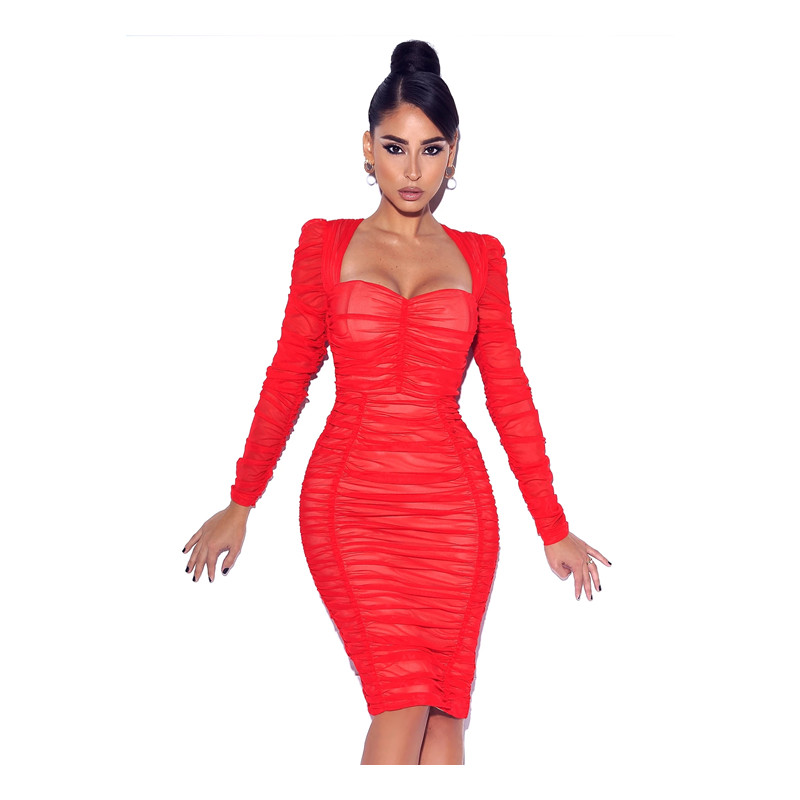 2020 Hot Quality Sexy party cocktail  Bodycon Bandage Dress Club Dress So Into You Red Long Sleeve Ruched bandage Dress