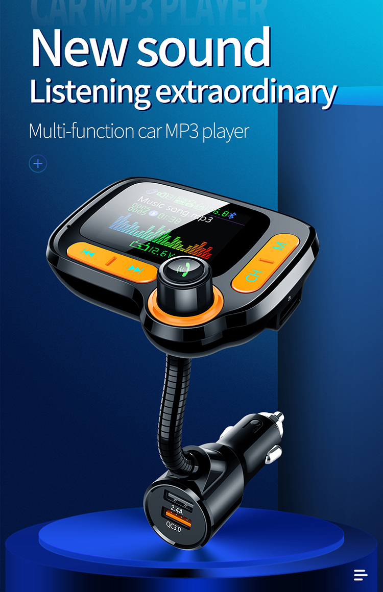 QC3.0 Car Mp3 Player Bluetooth Kit for Radio Station with Bluetooth Handsfree FM Transmitter