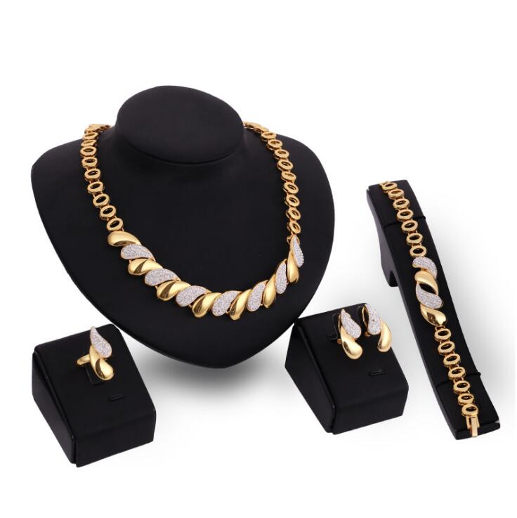 Fancy african gold jewelry sets women necklace sets indian wedding bridal jewelry set for dress accessories wholesale