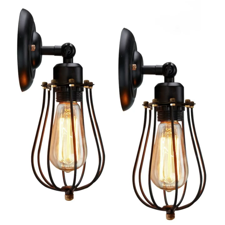 Shinetime Vintage Style Industrial Mini Wire Cage Wall Sconce Wall Light Fixtures