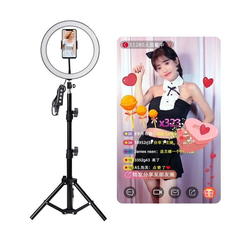 2020 nuovo 10 Pollici Trucco Selfie Riempire Video Luce Della Lampada USB Tik tok Del Basamento LED Anello di Luce Con Il Treppiedi Del Basamento