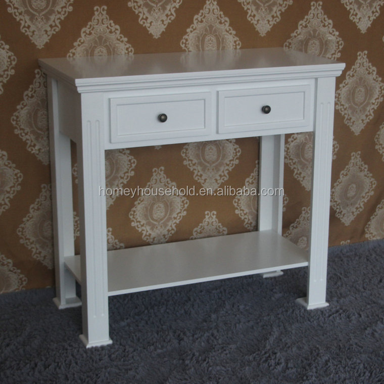 Roma Style White Hallway 2 Drawer & 1 shelf Sonsole Table/Side Table