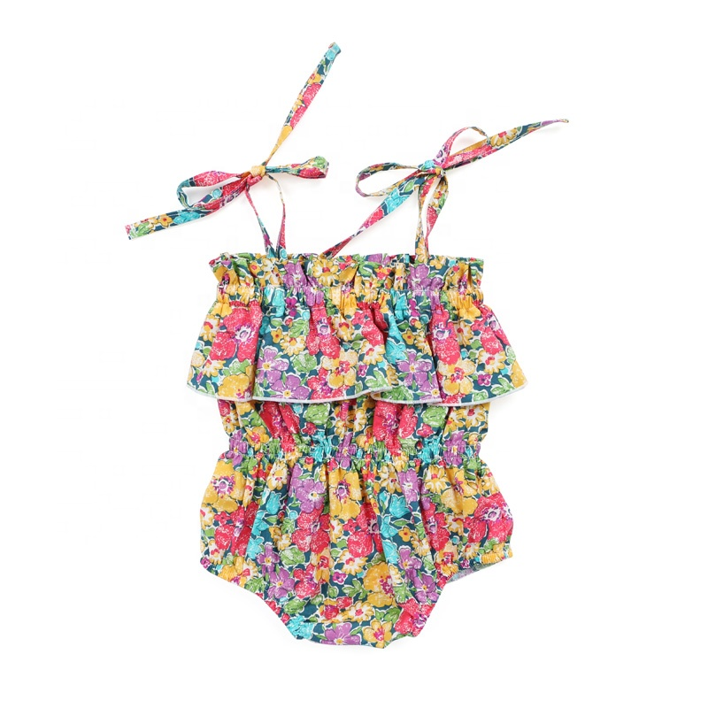 Newborn baby clothes sleeveless strap flower print woven baby romper