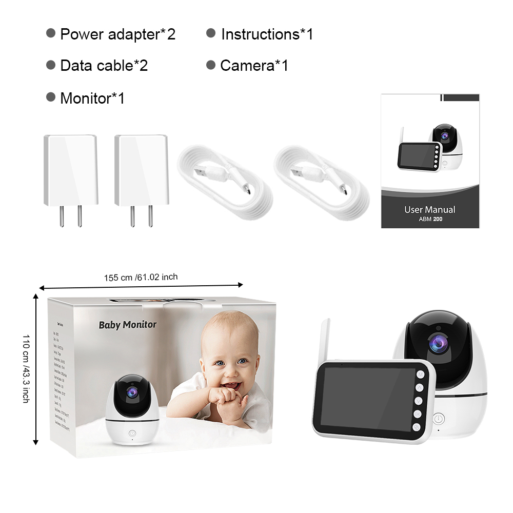 New Baby Monitor 4.5Inch HD720P Wireless Night Vision with Two Baby Cameras Two-way Talk Back LCD Display Baby Monitoring Camera