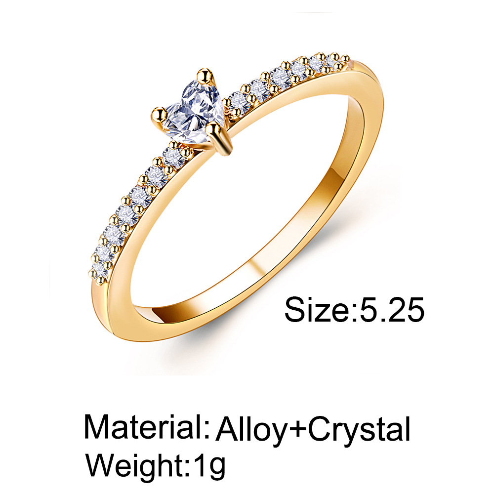 Simple zircon heart ring set with zircon heart ring for ladies jewelry women