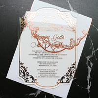 Elegant Frosted Acrylic Wedding Invitation Card With Envelopes