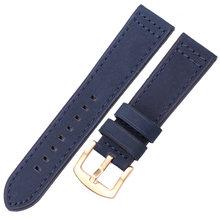 Ремешок для наручных часов из натуральной кожи HENGRC, черный, синий, серый, коричневый ремешок из воловьей кожи для женщин и мужчин, 18, 20, 22, 24 мм(Китай)