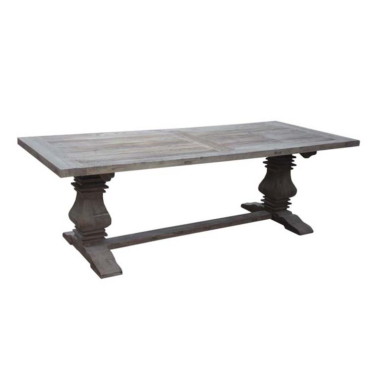 Classic recycled elm timber wood top farm dining table