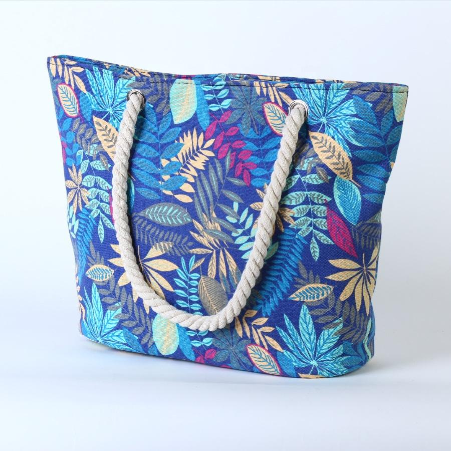 Custom 2020 Factory Supply Dames Bloemen Sublimatie Grote Canvas Strand Draagtas Met Touw Handvat Handtas Voor Vrouw