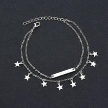 Женский ножной браслет в богемном стиле, золотистые Многослойные сандалии-босички с жемчужинами и звездами-бабочками, Ювелирное Украшение(Китай)