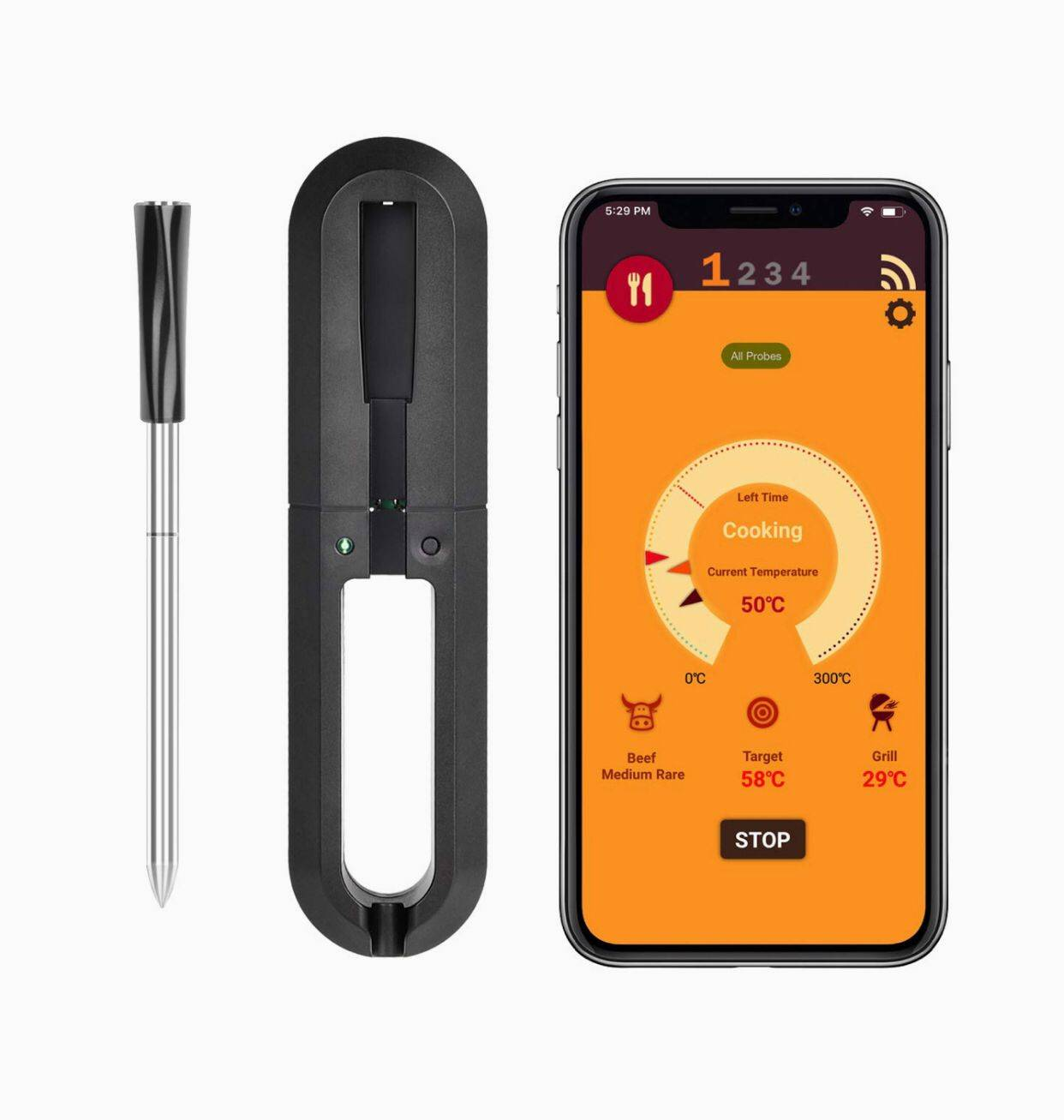 Bluetooth Daging Termometer Nirkabel Termometer Daging Bluetooth BBQ untuk Perokok, Smart Remote Digital Memasak