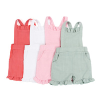 Wholesale Boutique New Design Infant&Toddler Jumpsuit Baby Clothing Summer Pure Color sleeveless Onesie with Ruffle