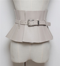 Personnalité pli ceinture amovible en cuir PU taille joint corps jupe ceinture <span class=keywords><strong>large</strong></span> taille joint