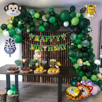 Jungle Theme Woodland Animals Foil Latex Balloon Birthday Party Decoration Balloon Set Arch Garland Kit for Kids