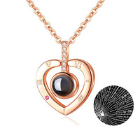 New Romantic Love Memory Letter Heart Pendant Necklace 100 Languages I Love You Projection Necklace (KNK5114)
