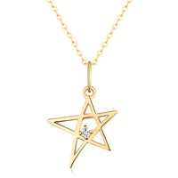 Wholesale New Solid Gold Jewelry 14kt Gold Star 5A Zircon Pendant