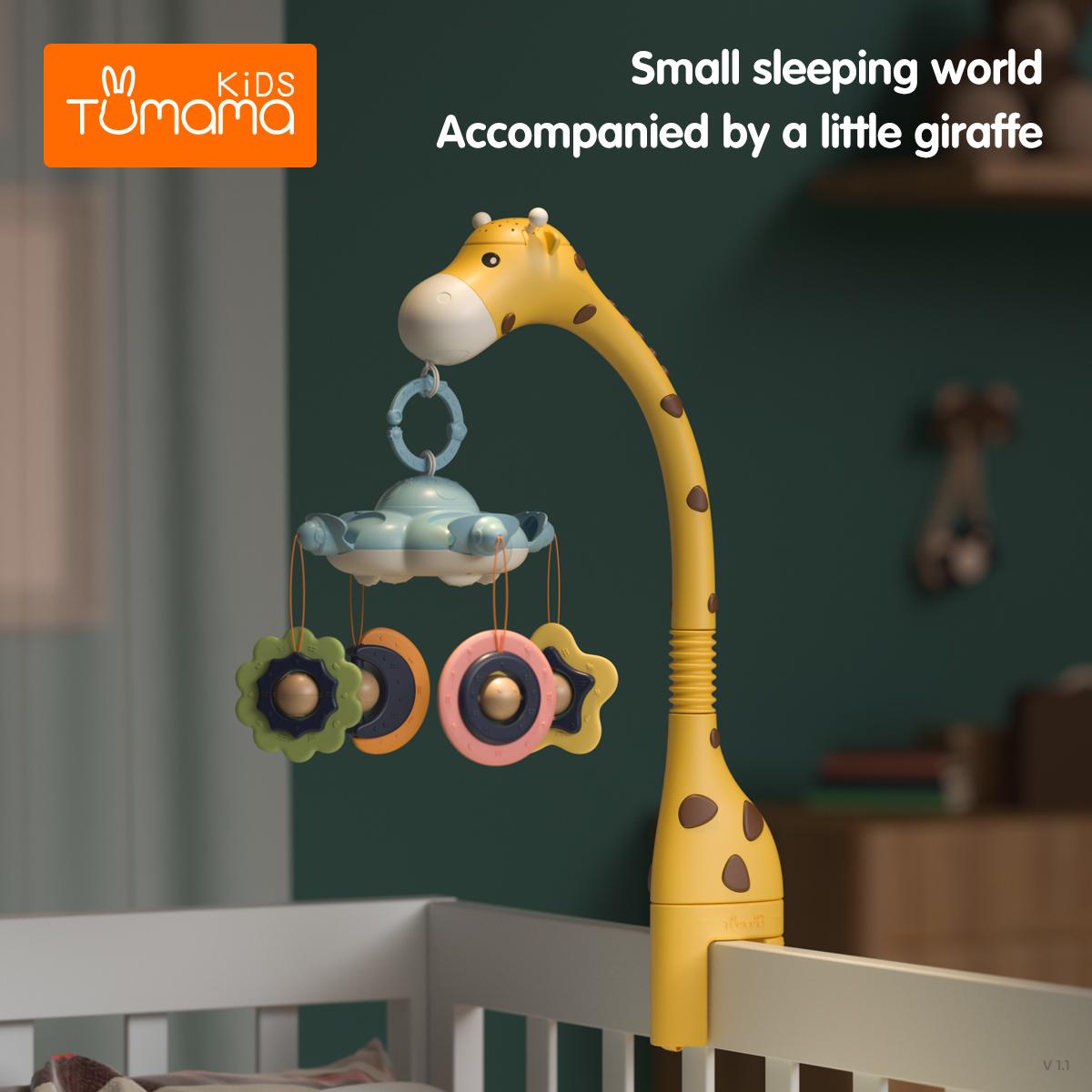 Plastic Newborn Infant giraffe crib toys 360 rotation musical Baby Rattles Crib Mobiles Toy