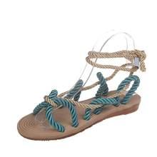 2020 новый дизайн; Босоножки женские в римском стиле; Стильные летние босоножки на шнуровке; Новинка; Повседневные женские Тапочки(Китай)
