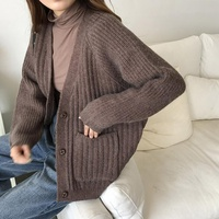 Korean Instagram Style Autumn Women Solid Loose Sweater Thickened Pocket Cardigan