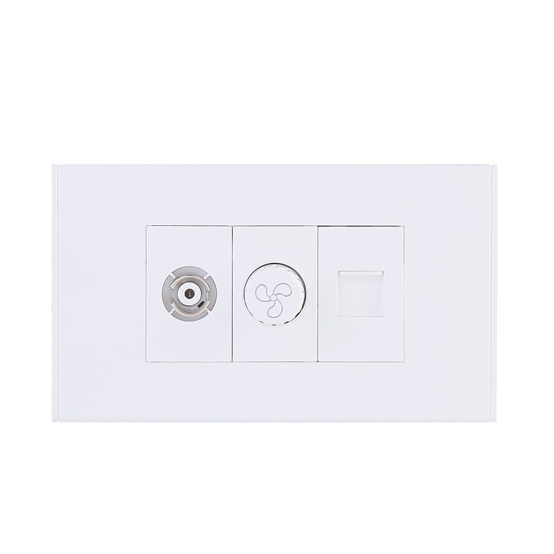 Free Combination Multi Functional 3 Gang Phone/Network/Fan/Light Touch Panel Socket Electric Wall Switch For Home