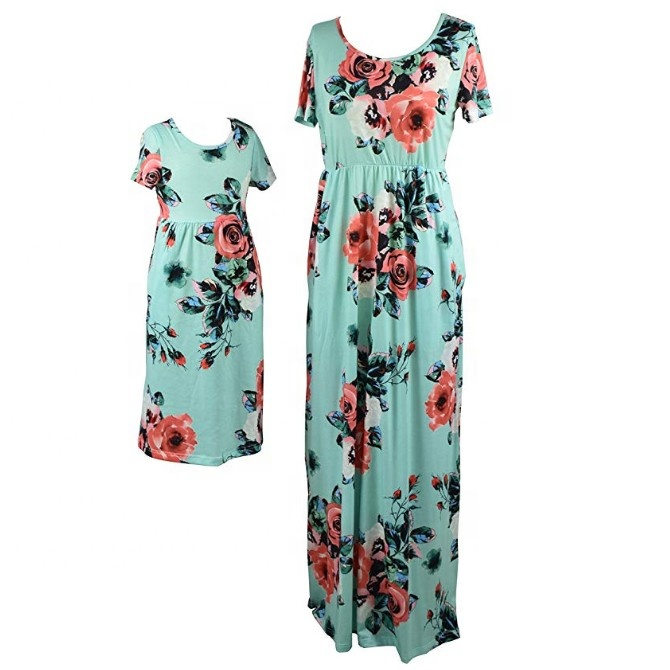 Mom and Daughter Matching Dress Plus Size Bohemia Maxi Dress Mother Daughter Outfits Floral Print Family Look Dresses for Girls