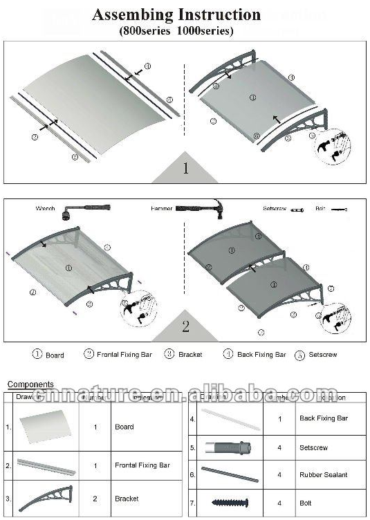 pc-solid-awning for door or window canopy pc-solid-awning