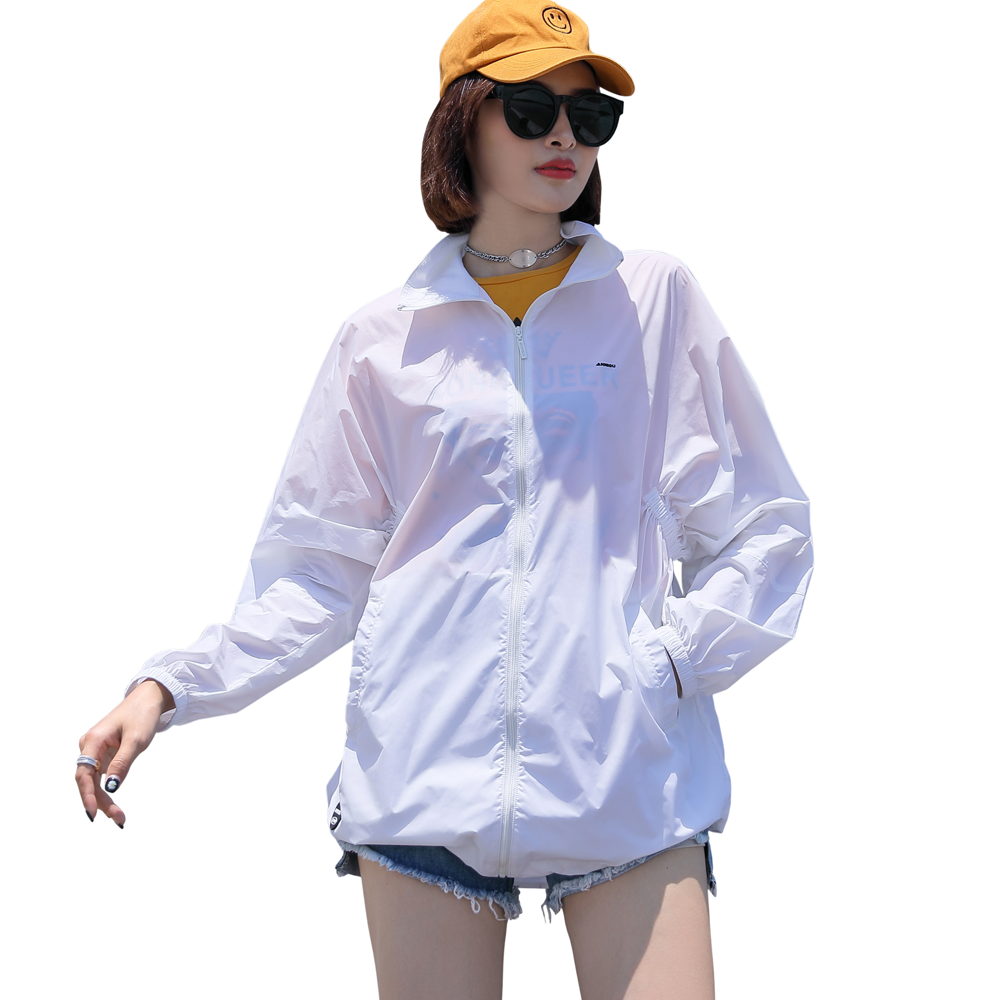 Sidiou Group Hot Sale Fashion Solid Color Sunscreen Clothing With Earphone <strong>Hole</strong> Outdoor UPF50+ Anti UV Skin Windbreak for Women