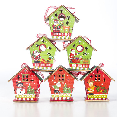 2020 wholesale engraved colorful painted <strong>wood</strong> slices handcrafted Christmas small house <strong>wood</strong> <strong>products</strong>