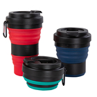 Portable muti-function collapsible Food Grade silicone travel cups collapsible silicone rubber drinking cup with lid