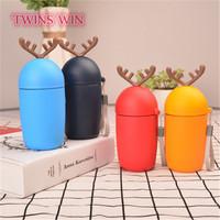 2019 Christmas deer colorful glass coffee mug with lid 1223