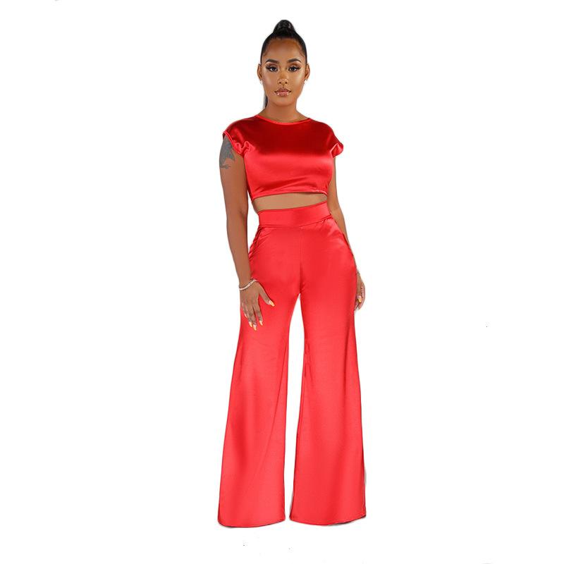 ANJAMANOR/атласный Шелковый комплект из двух предметов, топ и широкие брюки, элегантные сексуальные комплекты из 2 предметов для дня рождения, ве...(Китай)