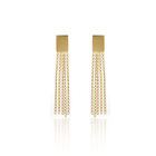 Charare temperamental gold rectangle tassel chain earrings 2020