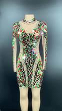 платье блестящее Прозрачное Сетчатое платье с блестками и длинными рукавами стразы наряд для дня рождения бальное платье для танцев коротк...(Китай)