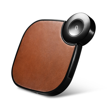 OEM Support 2 in 1 Brown Genuine Leather Wireless Charger for iWatch AirPods for Apple Watch