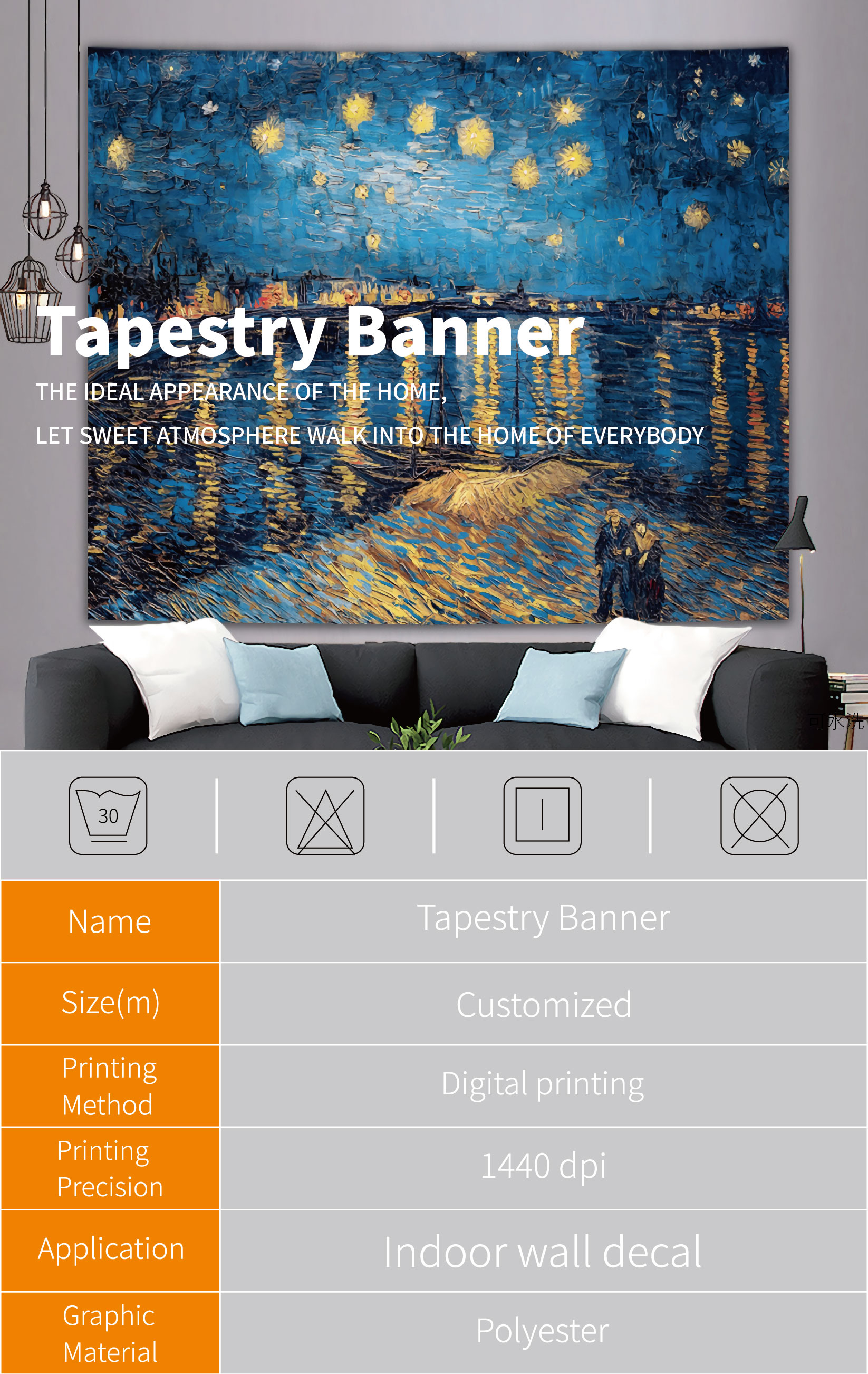 Custom Design Indoor Hanging Banner Wall Decoration Tapestry Banner With Grommets