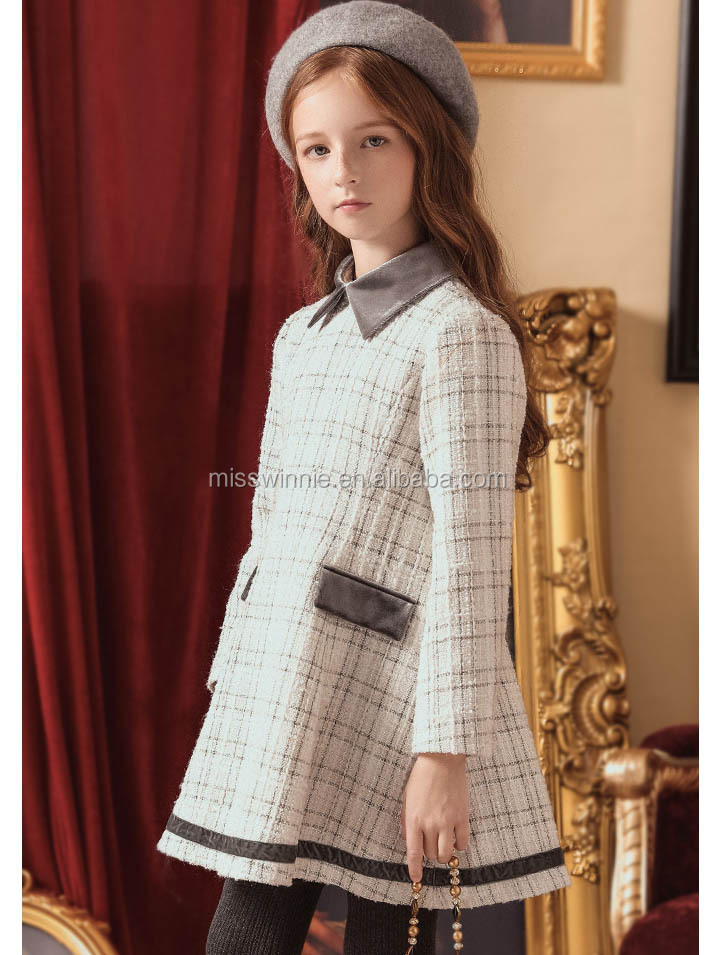 2017 long sleeve baby girl wool dress with collar