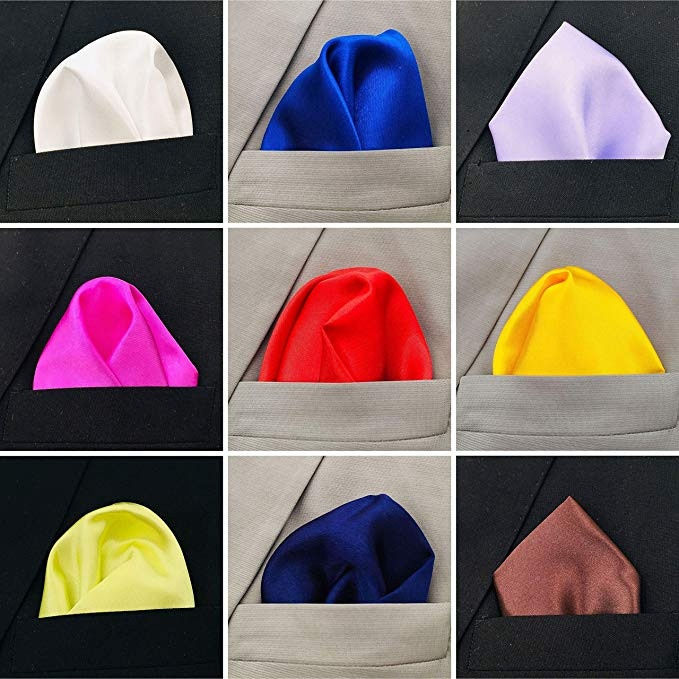 Multiple Color 25 Colors Collection Pocket Square With Holder