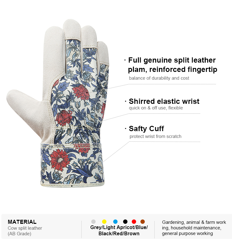 Flexible breathable hand protection cut resistant garden gloves ladies leather