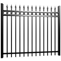6 ft wholesale iso powder coated spear top wrought iron fence / steel fence