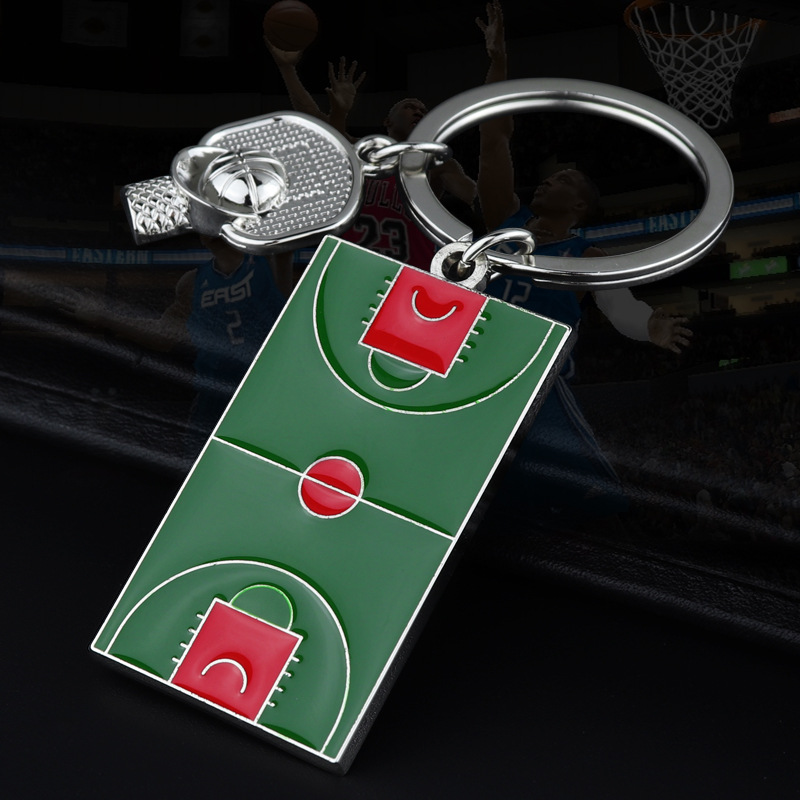 JM001 Trade Assurance New Design Fashion sports gifts basketball court key chain Enamel Court Metal Pendant for Men
