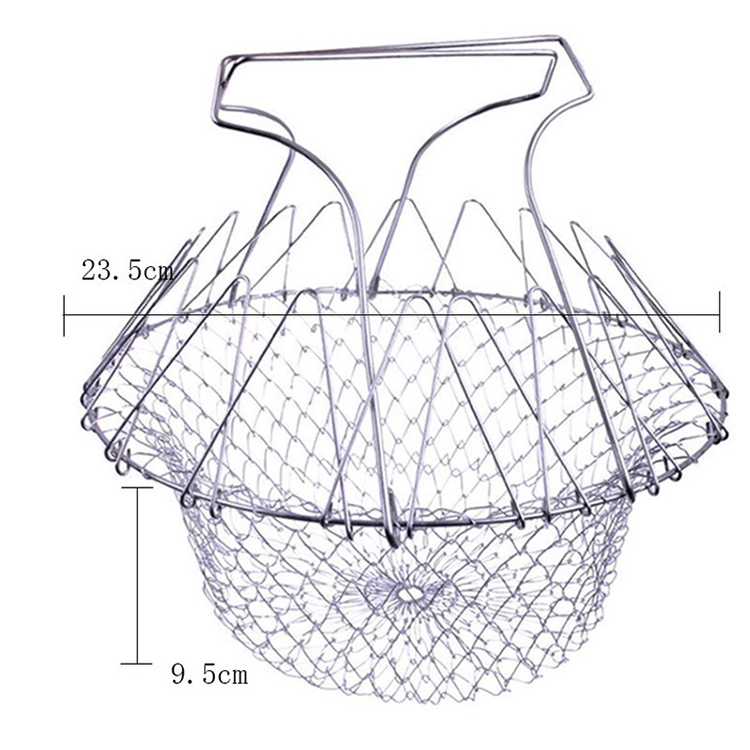 Kitchenware Colander New 2019 Trending Product Folding Magic Mesh Kitchen Gadgets Stainless Steel Expandable Fry Chef Basket