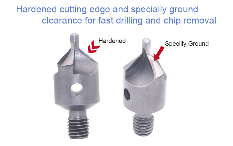 100 Degree High Speed Steel Threaded Shank Micro Stop Countersink