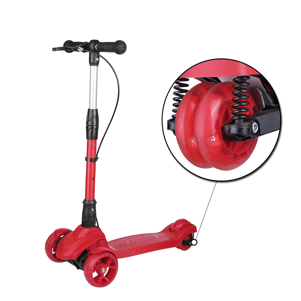 foldeding outdoor sports double suspension wide wheels kids kick scooter for adolescent with handbrake