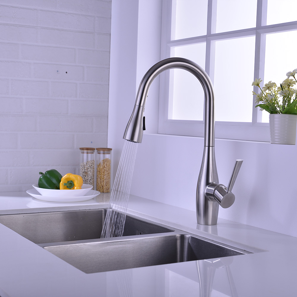 single handle pull down kitchen sink tap SUS304 stainless steel faucet for sale