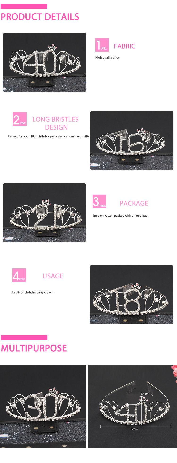 Top selling birthda party shows ages metal party tiara silver headband
