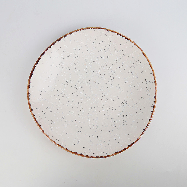 Pottery dinnerware antique speckled charger plates handmade16 pcs porcelain dinner set