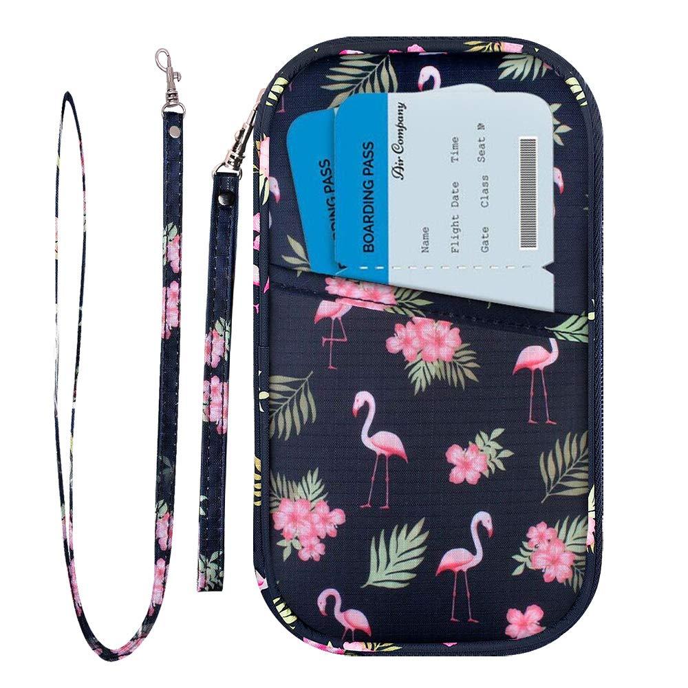 Portafoglio di viaggio e La Famiglia cartella Del Passaporto Del Supporto del passaporto del passaporto Documento di Viaggio dell'organizzatore RFID blocco fit 6 passaporti con la Chiusura Lampo